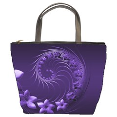 Dark Violet Abstract Flowers Bucket Bag by BestCustomGiftsForYou