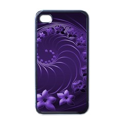 Dark Violet Abstract Flowers Apple Iphone 4 Case (black) by BestCustomGiftsForYou