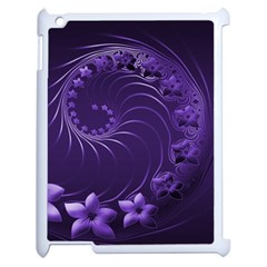 Dark Violet Abstract Flowers Apple Ipad 2 Case (white) by BestCustomGiftsForYou
