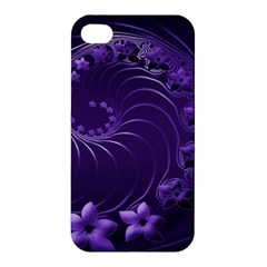 Dark Violet Abstract Flowers Apple Iphone 4/4s Hardshell Case by BestCustomGiftsForYou