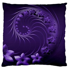 Dark Violet Abstract Flowers Large Cushion Case (two Sides) by BestCustomGiftsForYou
