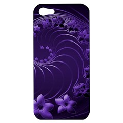 Dark Violet Abstract Flowers Apple Iphone 5 Hardshell Case by BestCustomGiftsForYou