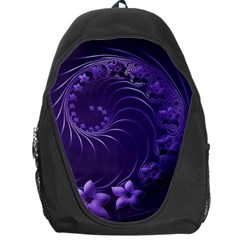 Dark Violet Abstract Flowers Backpack Bag by BestCustomGiftsForYou