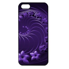 Dark Violet Abstract Flowers Apple Iphone 5 Seamless Case (black) by BestCustomGiftsForYou