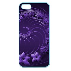 Dark Violet Abstract Flowers Apple Seamless Iphone 5 Case (color)