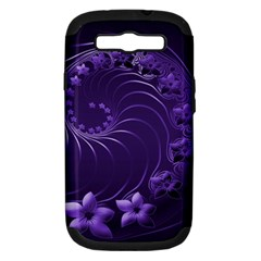 Dark Violet Abstract Flowers Samsung Galaxy S Iii Hardshell Case (pc+silicone) by BestCustomGiftsForYou