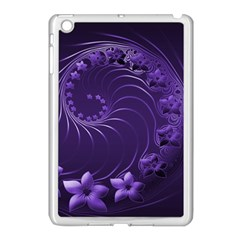 Dark Violet Abstract Flowers Apple Ipad Mini Case (white) by BestCustomGiftsForYou