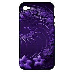 Dark Violet Abstract Flowers Apple Iphone 4/4s Hardshell Case (pc+silicone) by BestCustomGiftsForYou