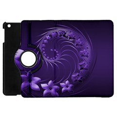 Dark Violet Abstract Flowers Apple Ipad Mini Flip 360 Case by BestCustomGiftsForYou