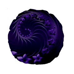 Dark Violet Abstract Flowers 15  Premium Round Cushion  by BestCustomGiftsForYou