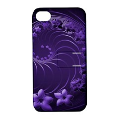 Dark Violet Abstract Flowers Apple Iphone 4/4s Hardshell Case With Stand by BestCustomGiftsForYou