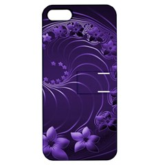 Dark Violet Abstract Flowers Apple Iphone 5 Hardshell Case With Stand