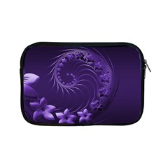 Dark Violet Abstract Flowers Apple Ipad Mini Zipper Case by BestCustomGiftsForYou