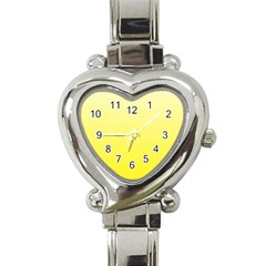 Cream To Cadmium Yellow Gradient Heart Italian Charm Watch  by BestCustomGiftsForYou