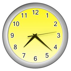 Cadmium Yellow To Cream Gradient Wall Clock (silver) by BestCustomGiftsForYou