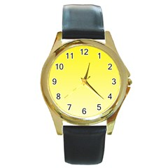 Cadmium Yellow To Cream Gradient Round Metal Watch (gold Rim)  by BestCustomGiftsForYou