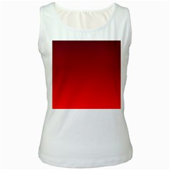 Dark Scarlet To Red Gradient Womens  Tank Top (white) by BestCustomGiftsForYou