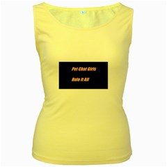 Petchatgirlsrule2 Womens  Tank Top (yellow) by Princessbabyj