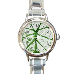 Leaf Patterns Round Italian Charm Watch by natureinmalaysia