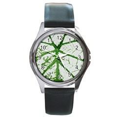 Leaf Patterns Round Metal Watch (silver Rim) by natureinmalaysia