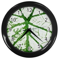 Leaf Patterns Wall Clock (black) by natureinmalaysia