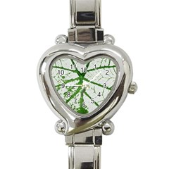 Leaf Patterns Heart Italian Charm Watch  by natureinmalaysia