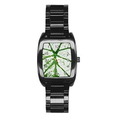 Leaf Patterns Men s Stainless Steel Barrel Analog Watch by natureinmalaysia