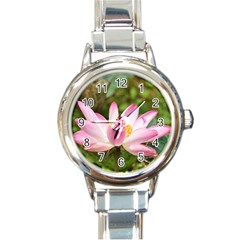 A Pink Lotus Round Italian Charm Watch by natureinmalaysia
