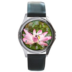 A Pink Lotus Round Metal Watch (silver Rim) by natureinmalaysia