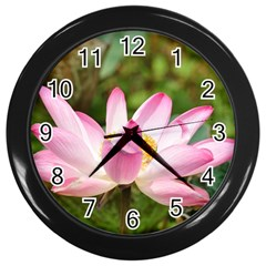A Pink Lotus Wall Clock (black) by natureinmalaysia