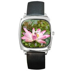 A Pink Lotus Square Leather Watch by natureinmalaysia
