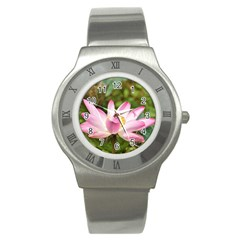 A Pink Lotus Stainless Steel Watch (unisex) by natureinmalaysia