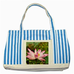 A Pink Lotus Blue Striped Tote Bag by natureinmalaysia