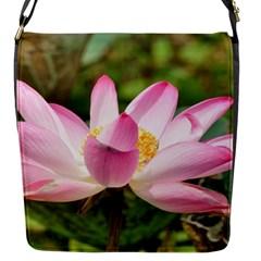 A Pink Lotus Flap Closure Messenger Bag (small) by natureinmalaysia
