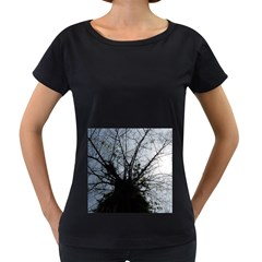 An Old Tree Womens' Maternity T Shirt (black) by natureinmalaysia