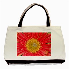 A Red Flower Twin Sided Black Tote Bag