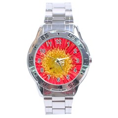 A Red Flower Stainless Steel Watch (men s) by natureinmalaysia