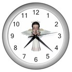 Angel Praying Wall Clock (Silver)