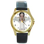 Angel Praying Round Gold Metal Watch