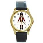Nutcraker Round Gold Metal Watch