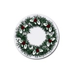 Christmas Wreath Rubber Round Coaster (4 pack)