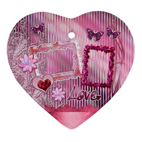 Pink Love Baby Floral Heart Christmas Ornament By Ellan   Ornament (heart)   Q0c2j6eyg1kd   Www Artscow Com Front