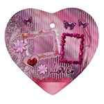 Pink love baby floral Heart Christmas Ornament - Ornament (Heart)
