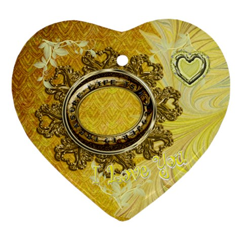 Life Is A Treasure Gold Heart Christmas Ornament By Ellan   Ornament (heart)   Edlp4l9w8oel   Www Artscow Com Front
