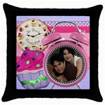 any time is cupcake time pillow - Throw Pillow Case (Black)