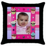 cupcake time pillow - Throw Pillow Case (Black)