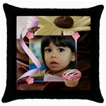 chocolate frosting pillow - Throw Pillow Case (Black)