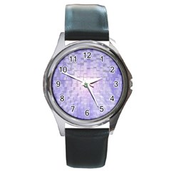 Purple Cubic Typography Round Metal Watch (silver Rim) by TheZiNES