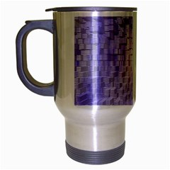 Purple Cubic Typography Travel Mug (silver Gray) by TheZiNES