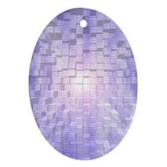 Purple Cubic Typography Oval Ornament (two Sides) by TheZiNES